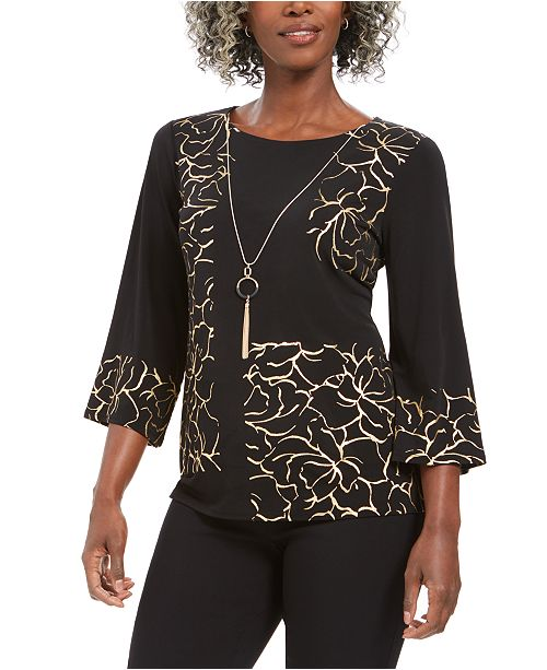 JM Collection Foil 3/4-Sleeve Necklace Top, Created for Macy's