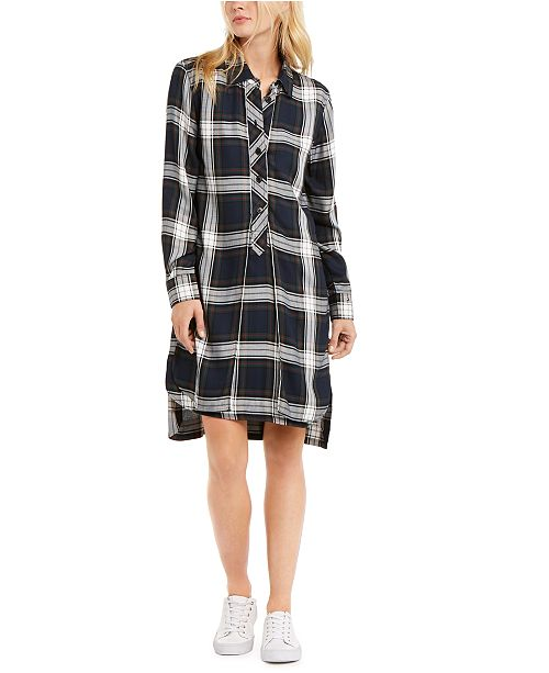 Tommy Hilfiger Plaid High-Low Shirtdress, Created For Macy's