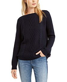 Cate Cable-Knit Ribbed Sweater
