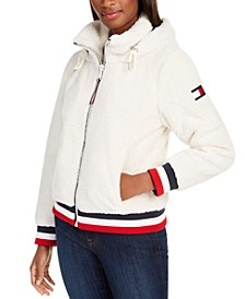 Striped-Trim Fleece Hooded Jacket, Created For Macy's