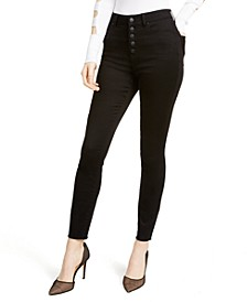 Juniors' High-Rise Button Fly Skinny Jeans