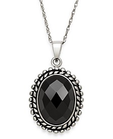 Black Onyx (10 x 14 mm) Pendant in Sterling Silver