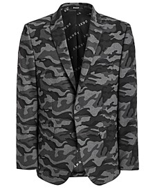 Big Boys Classic-Fit Stretch Black/Gray Camouflage Sport Coat