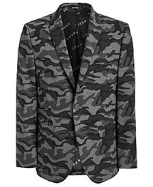 Big Boys Classic-Fit Stretch Black/Gray Camouflage Sport Coat