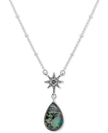 """Silver-Tone Blue Green Stone Pendant Necklace, 16"""" + 3"""" extender"""
