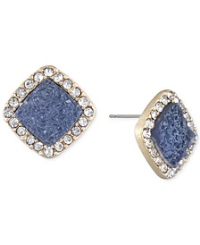 Gold-Tone Colorful Crystal Cushion Stud Earrings