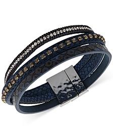 Crystal & Faux-Leather Wrap Bracelet