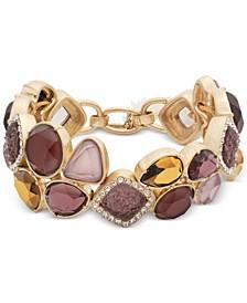 Gold-Tone Crystal, Stone & Druzy Stone Stretch Bracelet