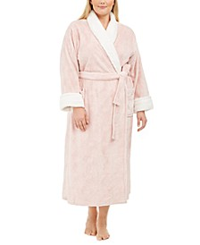 Plus Size Faux-Fur-Trim Long Robe, Created For Macy's