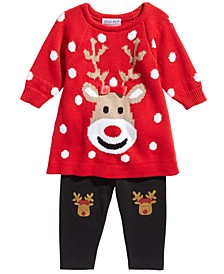Baby Girls 2-Pc. Reindeer Sweater & Leggings Set