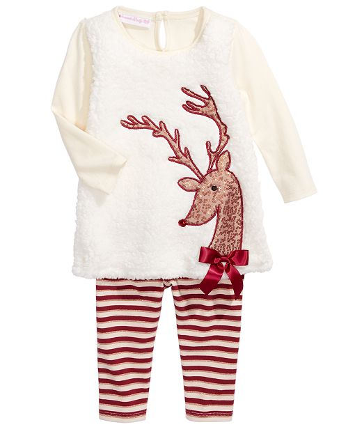 Bonnie Baby Baby Girls 2-Pc. Fleece Reindeer Tunic & Striped Leggings Set