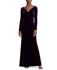 Drape-Back Velvet Dress