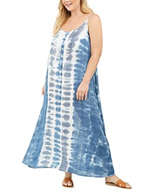 Plus Size Tie-Dyed Cover-Up Dress