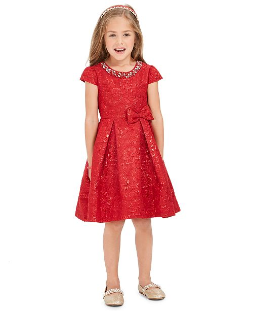 Rare Editions Toddler Girls Embellished Brocade Dress