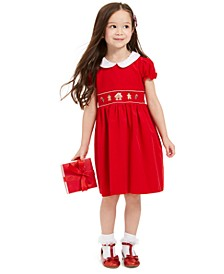 Toddler Girls Cotton Gingerbread & Candy Canes Corduroy Dress