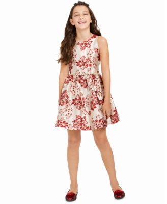 Big Girls Floral Brocade Dress