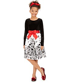 Big Girls Flocked Velvet Bow Dress