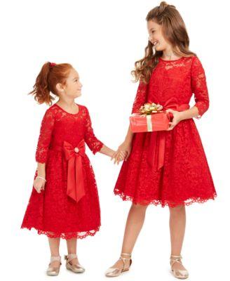 Big Girls Lace Bow Dress