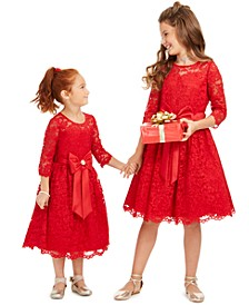 Little, Toddler & Big Girls Lace Bow Dress