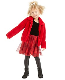 Little Girls Faux-Fur Jacket & Velvet & Plaid Dress, Created For Macy's