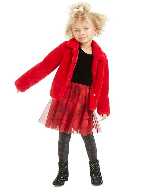 Epic Threads Toddler Girls Faux-Fur Jacket & Velvet & Plaid Dress, Created For Macy's