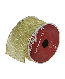 "Pack of 12 Sparkling Gold Lines Wired Christmas Craft Ribbon Spools - 2.5"" x 120 Yards Total"