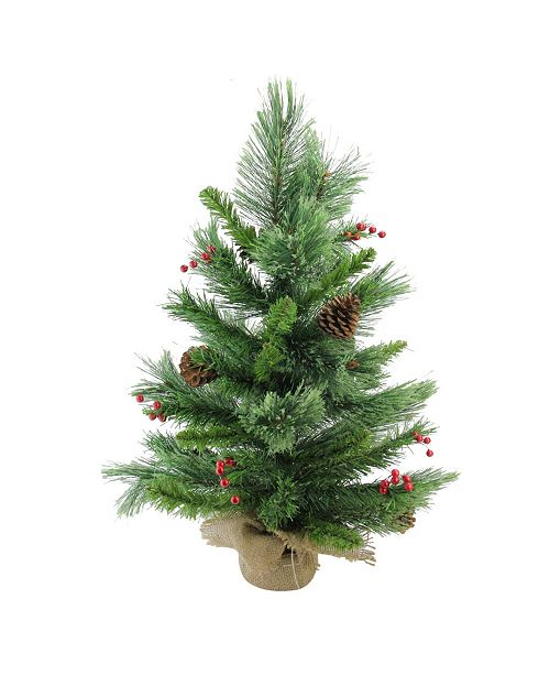 """Northlight 24"""" Mixed Cashmere Berry Pine Artificial Christmas Tree - Unlit"""