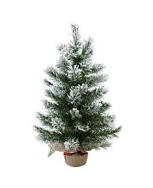 "22"" Flocked Pine Artificial Christmas Tree in Burlap Base - Unlit"