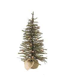 3' Pre-Lit Warsaw Twig Artificial Christmas Tree in Burlap Base - Clear Lights