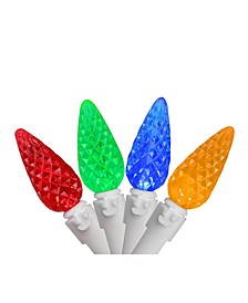 Set of 70 Multi-Colored LED Faceted C6 Christmas Lights - White Wire