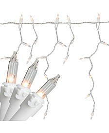 """Set of 100 Clear Mini Icicle Incandescent Christmas Lights 3"""" Spacing - White Wire"""