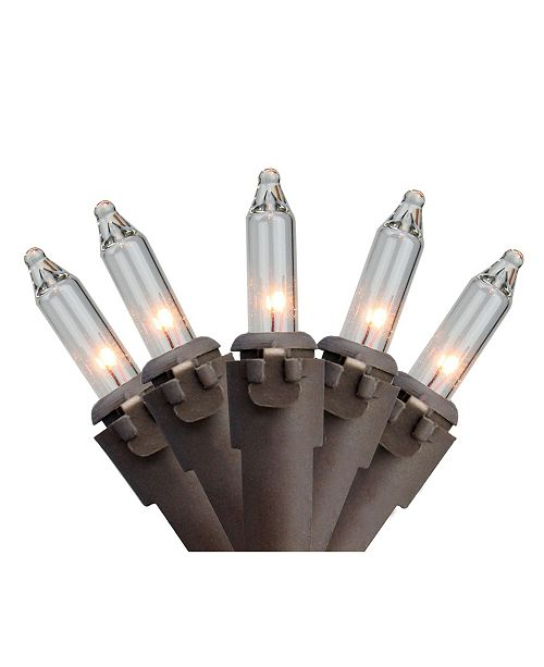 """Northlight Set of 35 Clear Mini Christmas Lights 2.5"""" Spacing - Brown Wire"""
