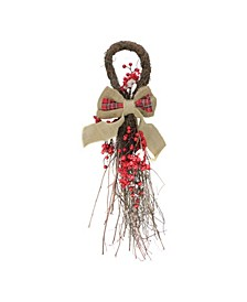 "24"" Country Rustic Twig and Red Berries with Burlap and Plaid Bow Christmas Teardrop Swag"