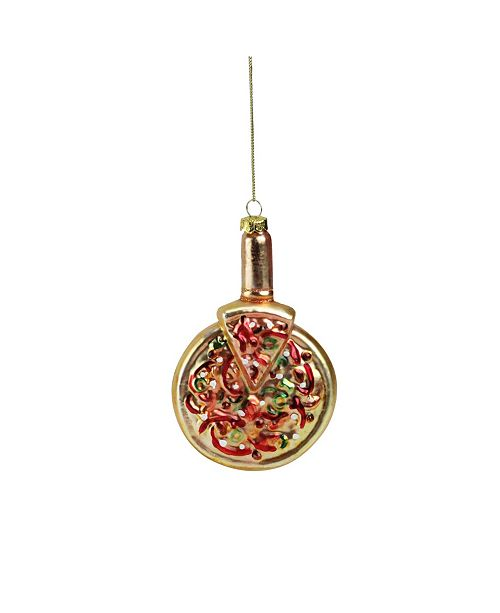 "Northlight 5"" Deep Dish Pepperoni Pizza Glass Christmas Ornament"