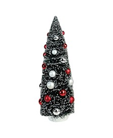 "15"" Frosted Red and Silver Sisal Pine Artificial Christmas Table Top Tree"