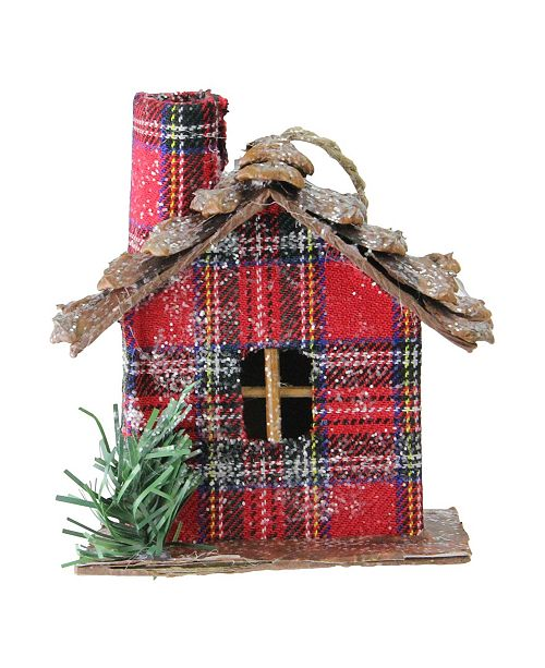 """Northlight 4.25"""" Red Plaid Country Cabin Christmas Ornament"""