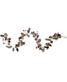 """39.5"""" Pine Cones and Berries Winter Foliage Christmas Twig Garland - Unlit"""