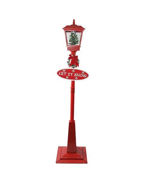 "Northlight 70.75"" Musical Red Holiday Street Lamp with Christmas Tree Snowfall Lantern"