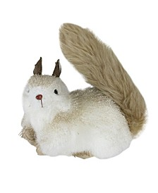 """7"""" Gilded White Christmas with Gold Glitter Decorative Squirrel Table Top Figure"""
