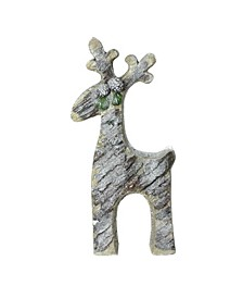 Rustic Glittered Christmas Reindeer Table Top Decoration