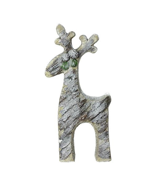 "Northlight 22"" Gray Rustic Glittered Christmas Reindeer Table Top Decoration"