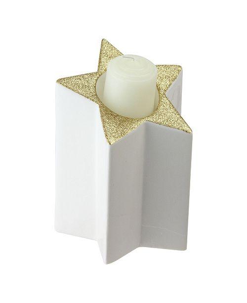 Northlight Gold-Tone Colostar Shaped Glitter Tea Light Candle Holder