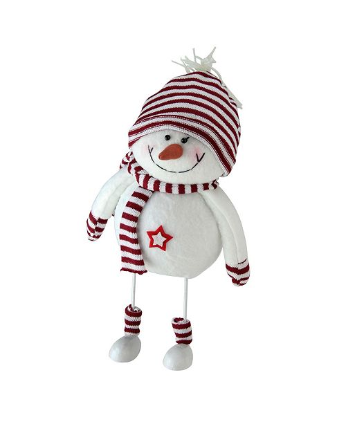 "Northlight 11"" Albino White and Candy Apple Red Bobble Snowman Figurine"