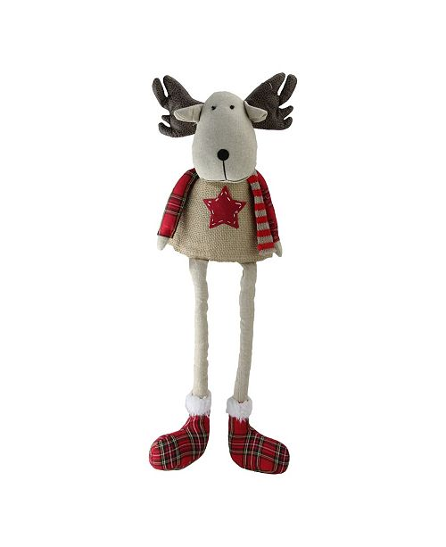 Northlight Plaid Decorative Elk Sitting with Dangling Legs Tabletop Decoration