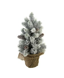 """16"""" Flocked Green Pine Artificial Table Top Christmas Tree with Burlap Base"""