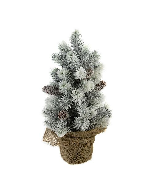 "Northlight 16"" Flocked Green Pine Artificial Table Top Christmas Tree with Burlap Base"
