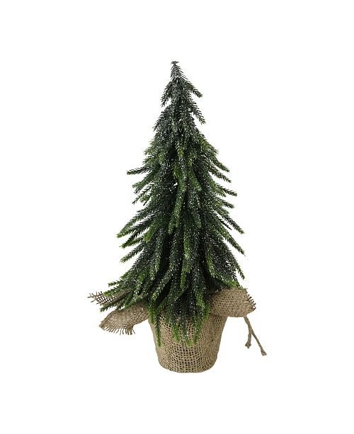 """Northlight 14"""" Silver Glitter Weeping Mini Pine Christmas Tree in Burlap Covered Vase"""