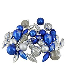 36-Piece Blue and Silver-Tone Collection Asymmetrical Christmas ornament Set