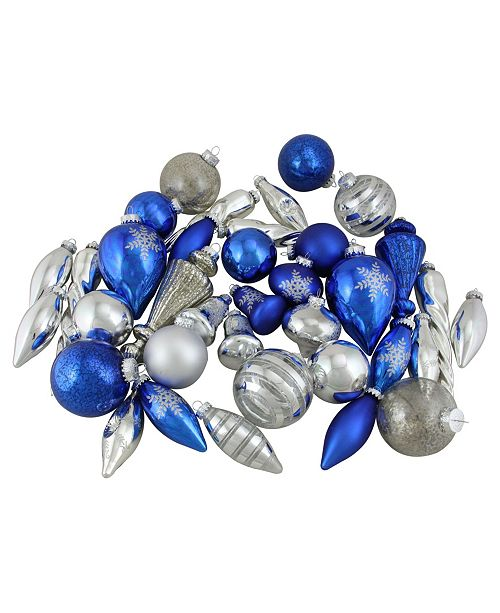 Northlight 36-Piece Blue and Silver Collection Asymmetrical Christmas Ornament Set