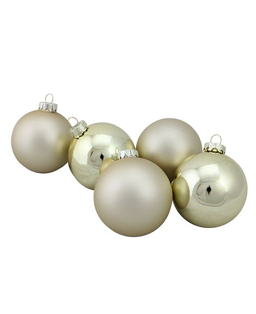 "Northlight 6-Piece Shiny and Matte Gold Glass Ball Christmas Ornament Set 3.25"" 80mm"